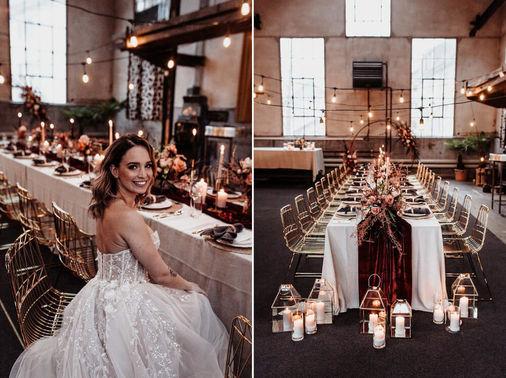 Boho Hochzeitstafel mit Lucy Wire Drahtstühlen in Gold - Tobias Tumac Photography – gesehen bei frauimmer-herrewig.de