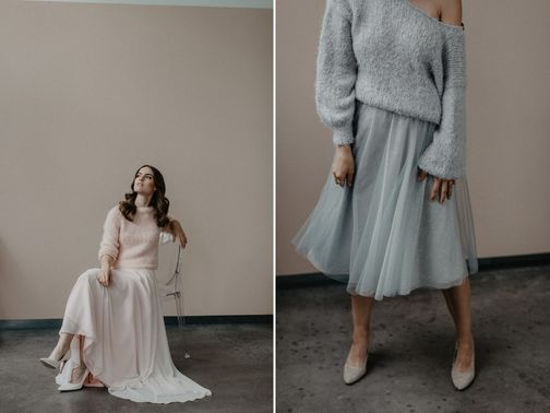 Brautkleid links LOUISE and THE SWEETEST TABOO Brautkleid rechts CLEO and COSY ROSIE Designerin Michele Weiten – gesehen bei frauimmer-herrewig.de