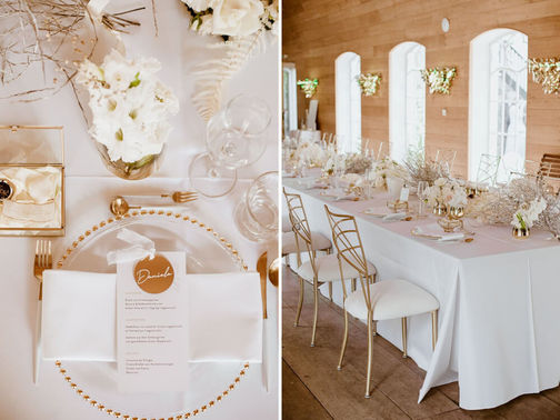 Elegantes Hochzeitskonzept in weiß gold – gesehen bei frauimmer-herrewig.de