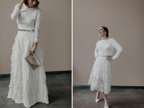 Brautkleid links HELLA Brautkleid rechts COLETTE and COSY ROSIE Designerin Michele Weiten – gesehen bei frauimmer-herrewig.de