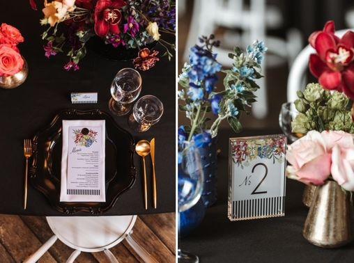 Schwarze Tischdeko mit bunten Blumen – gesehen bei frauimmer-herrewig.de