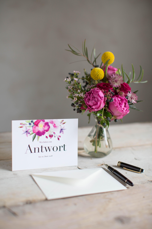 Marry paper hochzeitspapeterie hochzeitskarten rose marry antwortkarte 4300