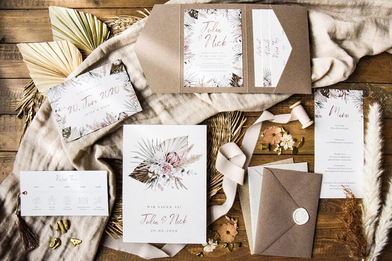 Hochzeitseinladung boho pampasgras 1 von 1  – gesehen bei frauimmer-herrewig.de