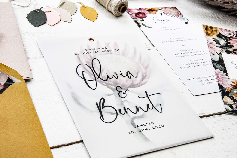 Hochzeitseinladung protea boho 6 – gesehen bei frauimmer-herrewig.de