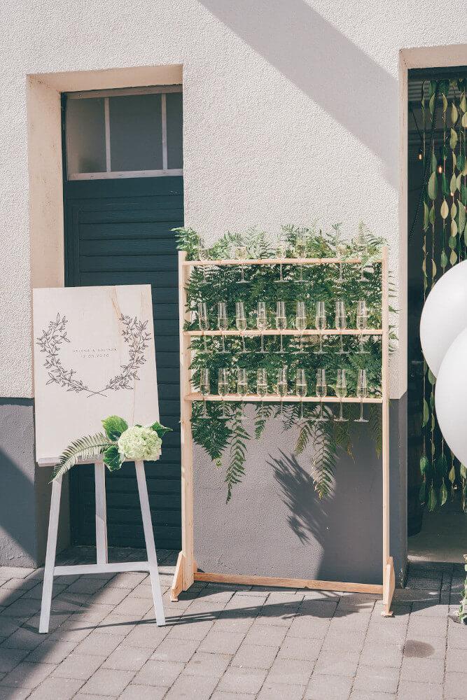 Sektempfang Greenery Wedding – gesehen bei frauimmer-herrewig.de